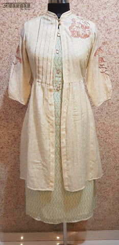 Aavarnam By Renu - Soft Maslin Flared Shirt With Embroidered Cape - 2008D00052