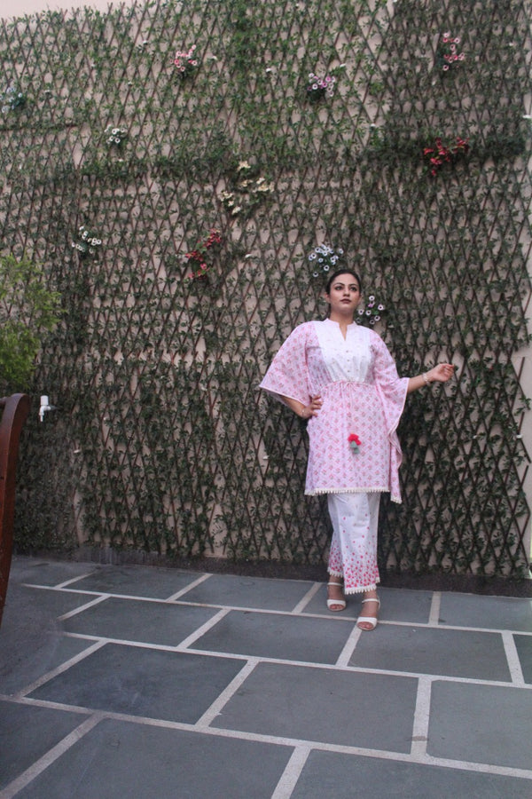 Aavarnam By Renu - Fine Cotton Kaftan With Pallazo - D00064