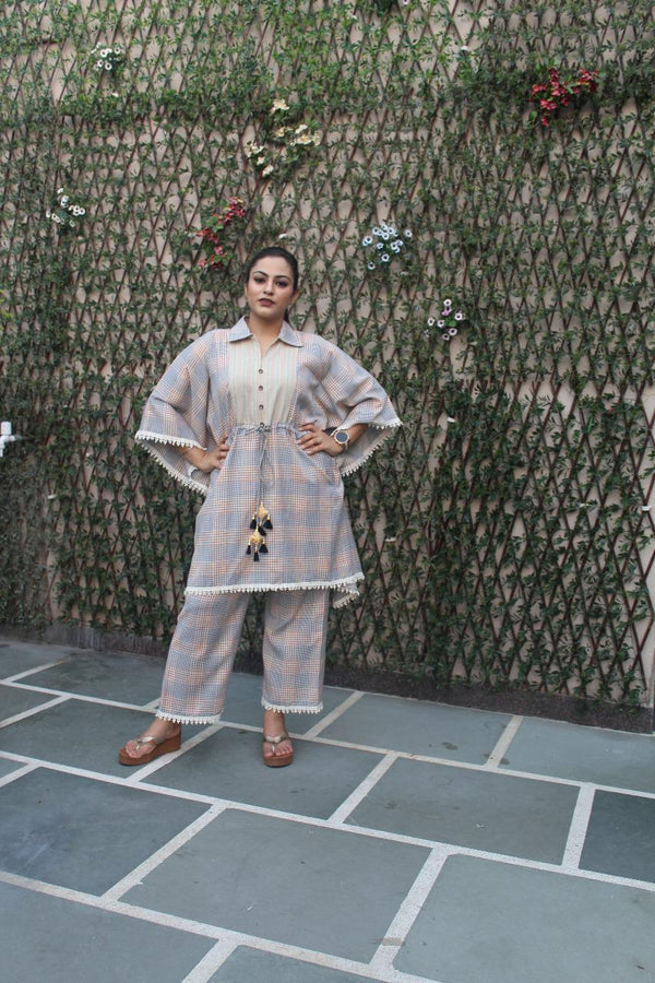 Aavarnam By Renu - Fine Cotton Kaftan With Pallazo - D00065