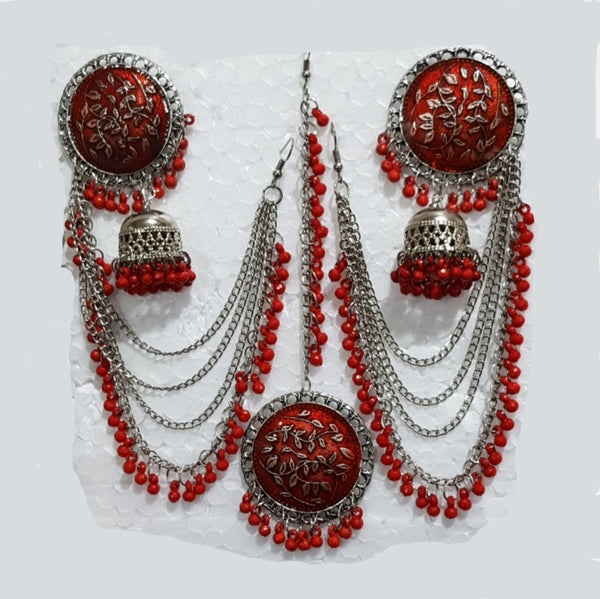 Stud Earring With Mang Tikka - E00033
