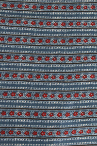 Blue Block Printed Cotton Fabric - F00005