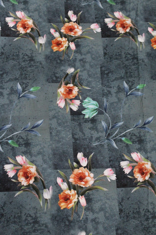 Soft Floral Digital Crepe Fabric Online - F00038