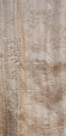 Embroidered Tussar Silk Fabric - F00126