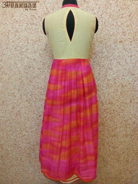 Majenta Pure Handloom Silk Dress - AAVARNAM by RENU - 2