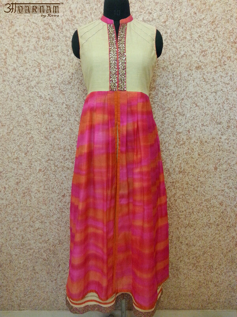 Majenta Pure Handloom Silk Dress - AAVARNAM by RENU - 1