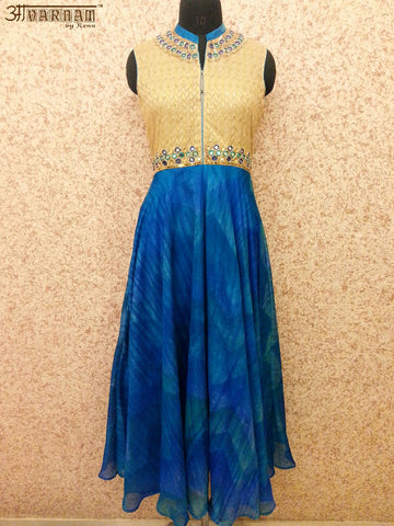 Blue Pure Handloom Silk Dress with Net Dupatta - AAVARNAM by RENU - 1