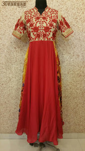 Red Embroidered Dress - AAVARNAM by RENU - 1