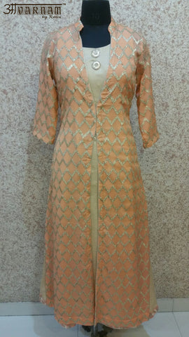 Aavarnam By Renu - Peach Embroidered Dress - K00505