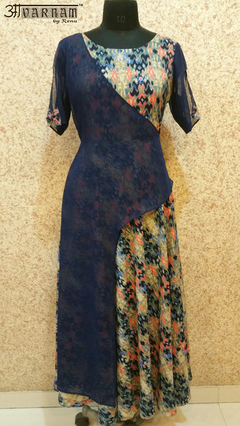 Aavarnam By Renu - Multi Colored Flared Maxi Dress - GVABRK00526