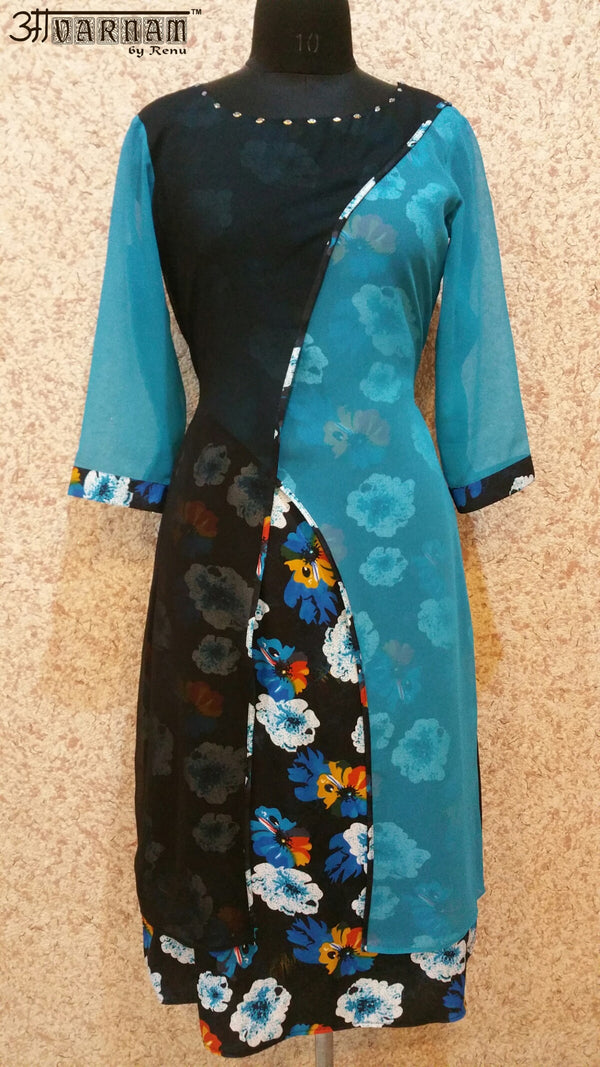Aavarnam By Renu - Multi Color Long Kurti With Cape - EAVRK00528