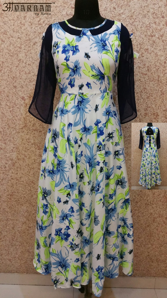 Aavarnam By Renu - Multi Color Flared Floral Maxi Dress - GVVVRK00554