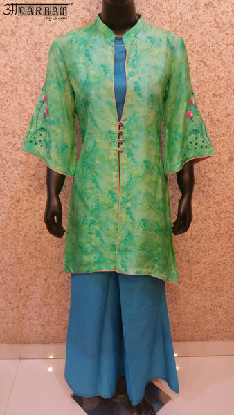 Aavarnam By Renu - Embroidered Shirt Pallazo Set With Cape - 2530K00621