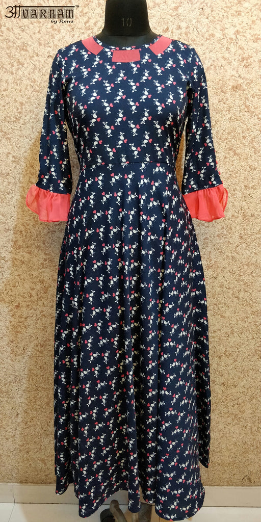 Aavarnam By Renu - Navy Blue Flared Dress - EGBRK00674