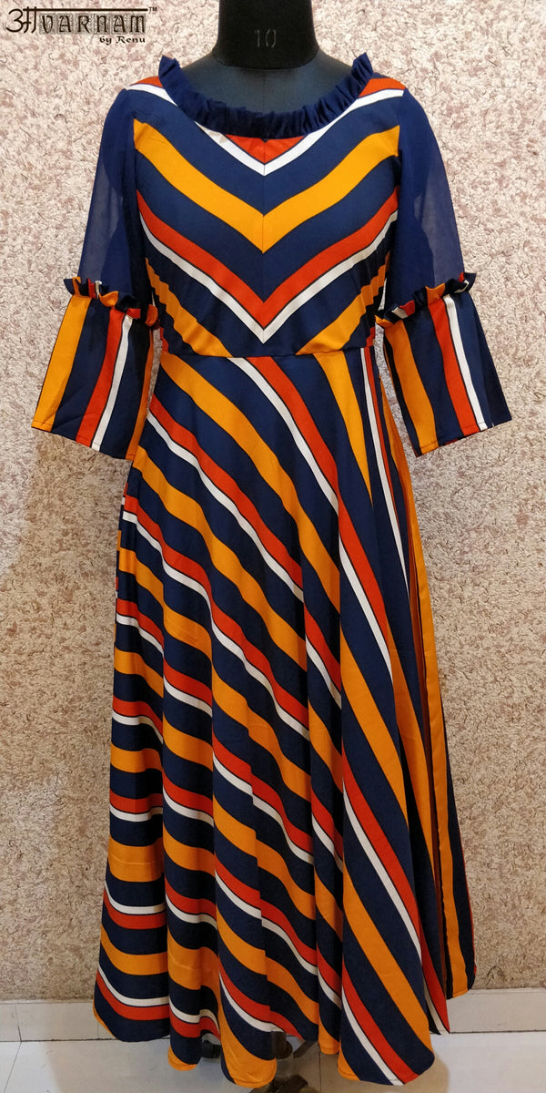 Aavarnam By Renu - Flared Stripes Dress - EEBRK00680