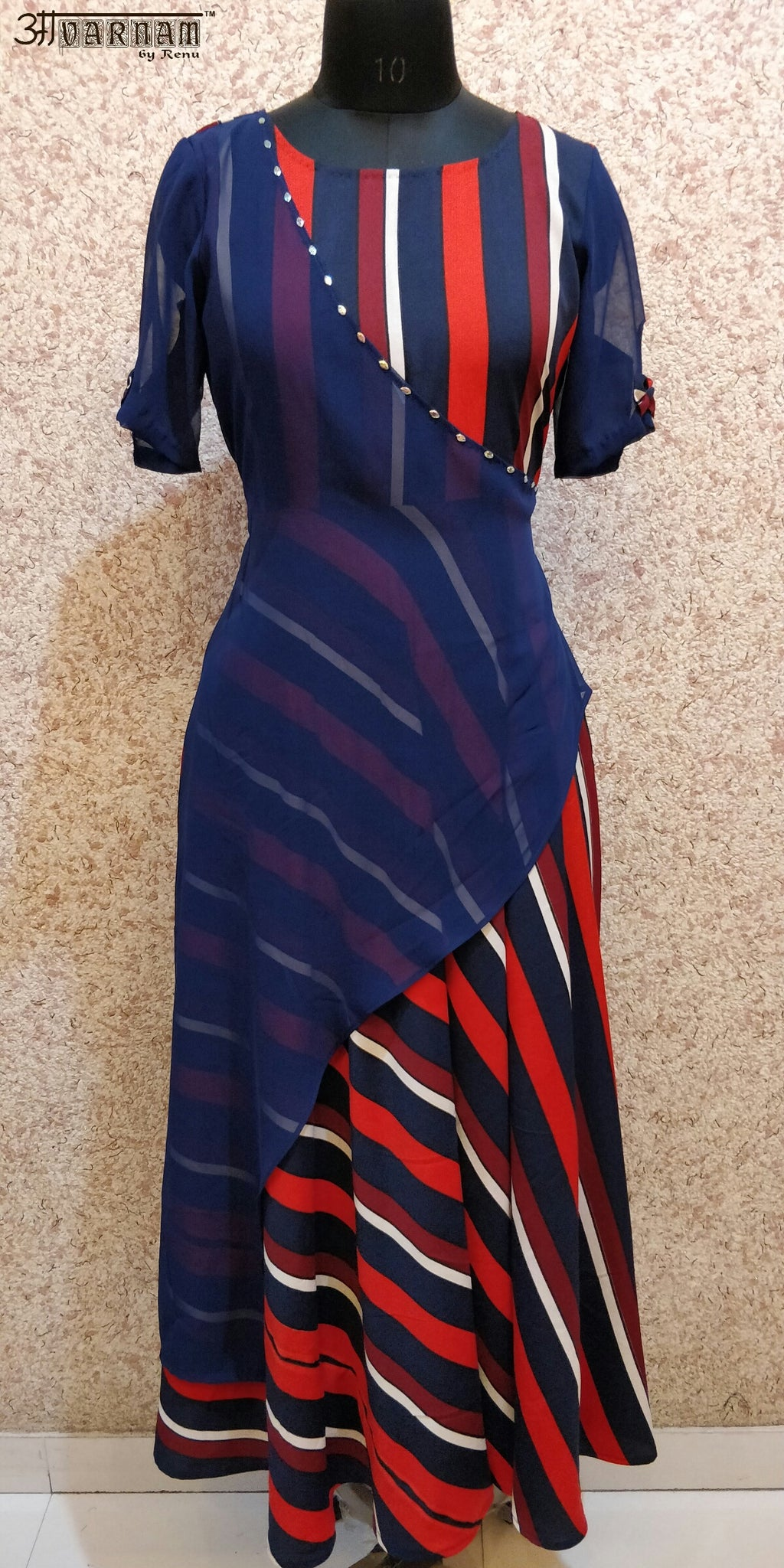 Aavarnam By Renu - Stripes Flared Dress - EIBRK00681