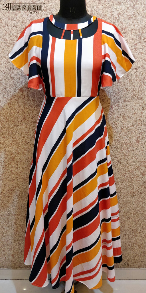 Aavarnam By Renu - Stripes Flared Dress - EBVRK00682