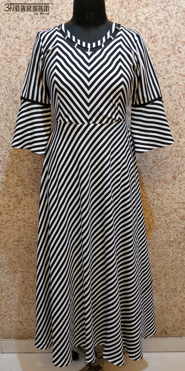 Aavarnam By Renu - Black White Stripes Flared Dress - EDVRK00683