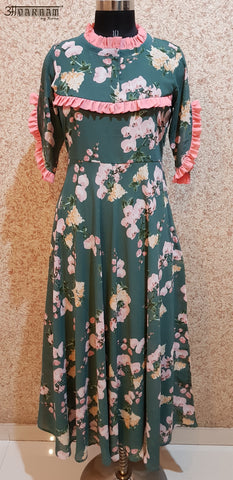 Aavarnam By Renu - Floral Flared Maxi Dress - EDVRK00697