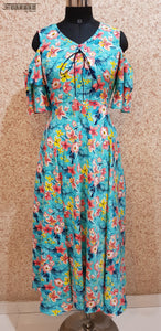 Aavarnam By Renu - Multi Color Flared Floral Maxi Dress - EPVRK00707