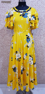 Aavarnam By Renu - Yellow Flared Floral Maxi Dress With Layered Sleeves - GVVBRK00708