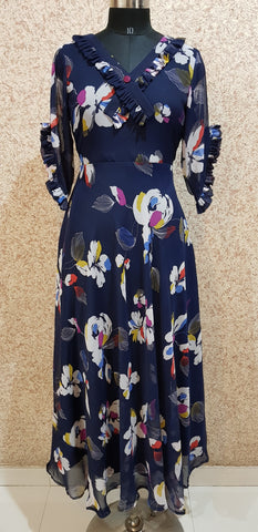 Aavarnam By Renu - Navy Blue Flared Maxi Dress - EDBRK00711