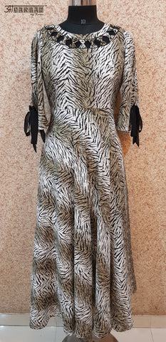 Aavarnam By Renu - Tiger Print Flared Maxi Dress - EDBRK00719