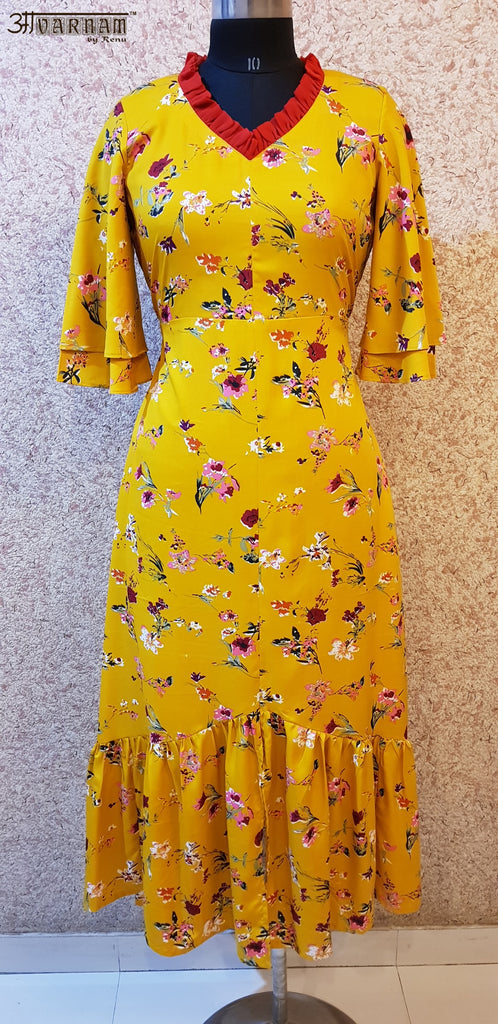 Aavarnam By Renu - Floral Gathered Flared Dress - EVVRK00724