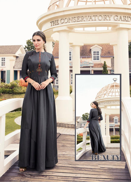 Embroidered Flared Gown - R00001