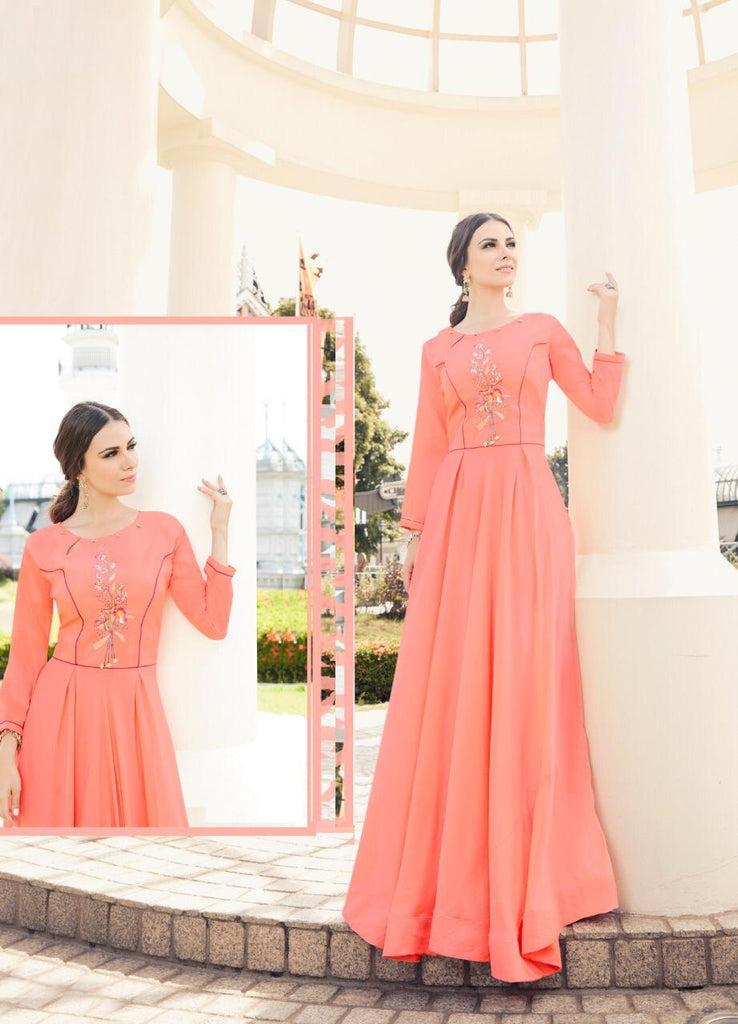 Embroidered Flared Gown - R00002