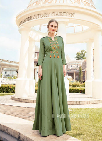 Embroidered Flared Gown - R00003