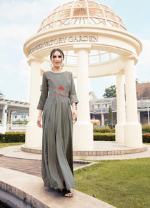 Embroidered Flared Gown - R00005