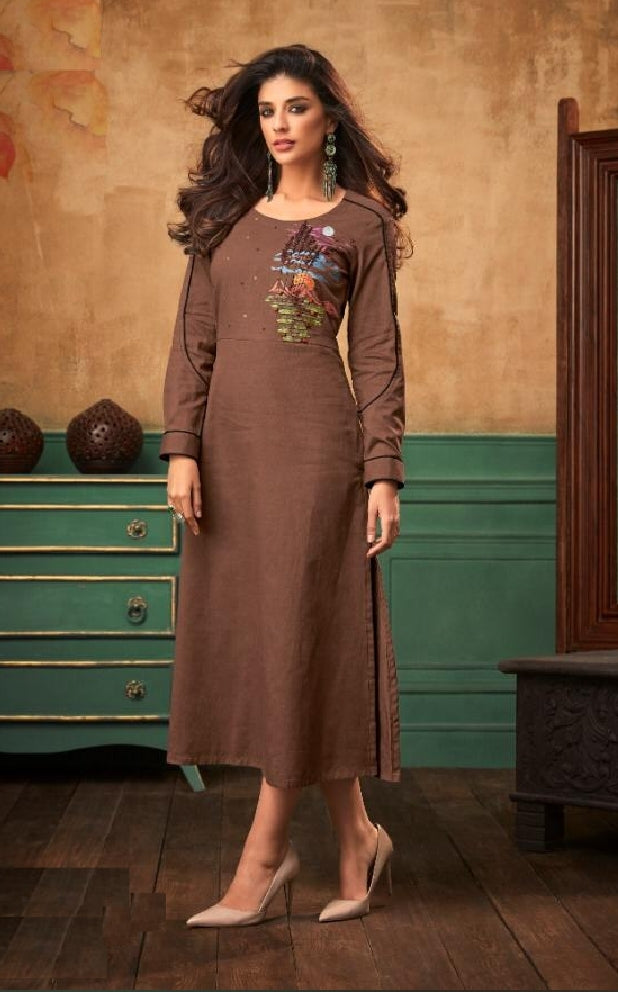 Embroidered Long Cotton Kurti - R00012
