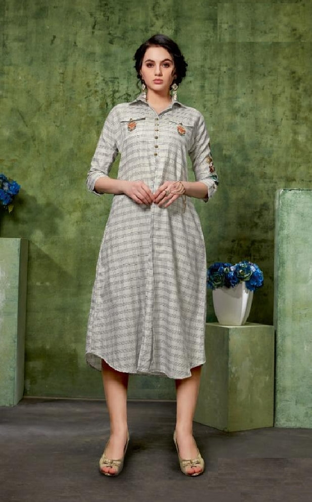 Embroidered Long Cotton Kurti With Front Slit  - R00049