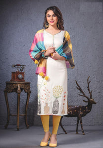 Embroidered Long Cotton Kurti With Stole - R00053