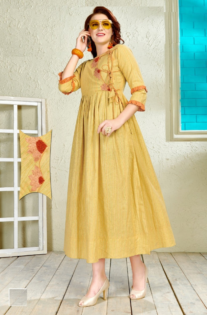 Embroidered Cotton Flared Dress - R00121