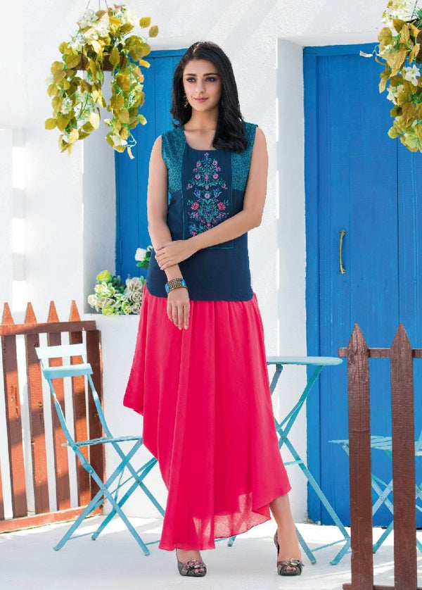 Soft Reyon Cotton Kurti With Embroidered Shrug - R00130