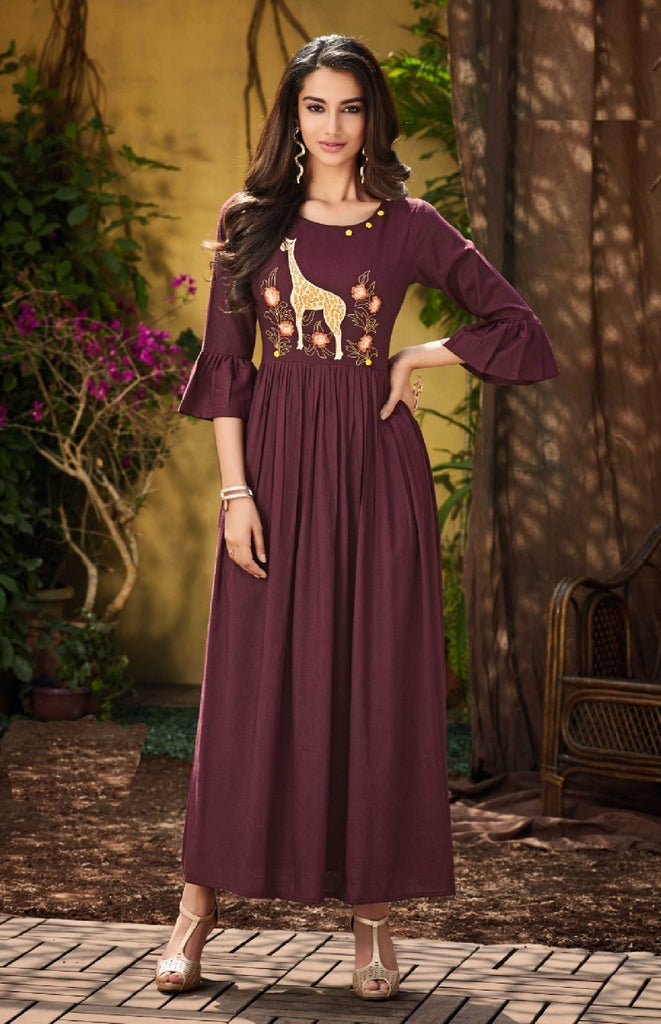 Soft Reyon Embroidered Dress - R00131