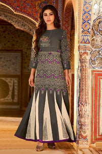 Soft Cotton Embroidered Flared Kalidar Dress - R00149