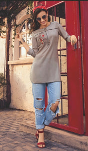 Embroidered Maslin Cotton Top - R00217