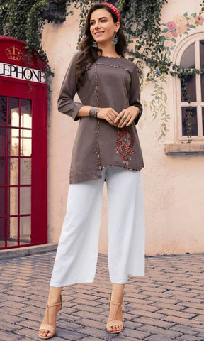 Embroidered Maslin Cotton Top - R00218