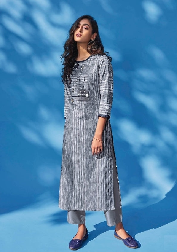 Cotton Stripes Embroidered  Kurti - R00233