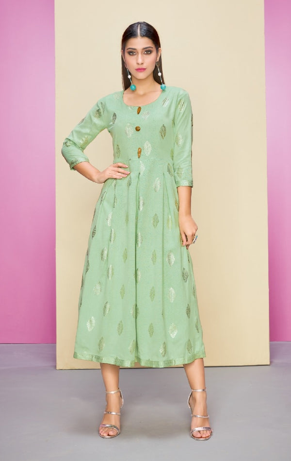 Semi - Formal Reyon Cotton Kurti - R00247