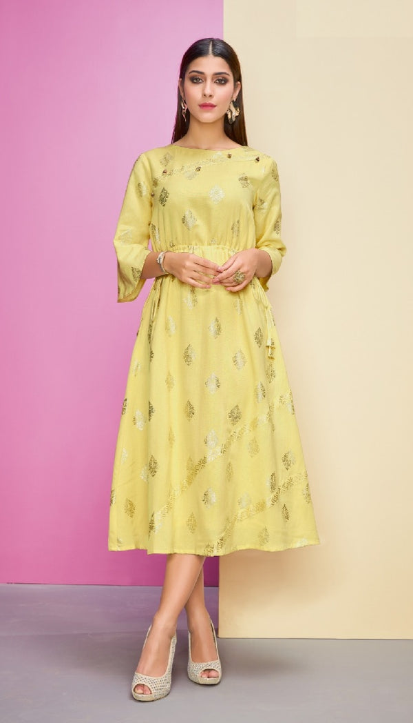 Semi - Formal Reyon Cotton Kurti - R00252