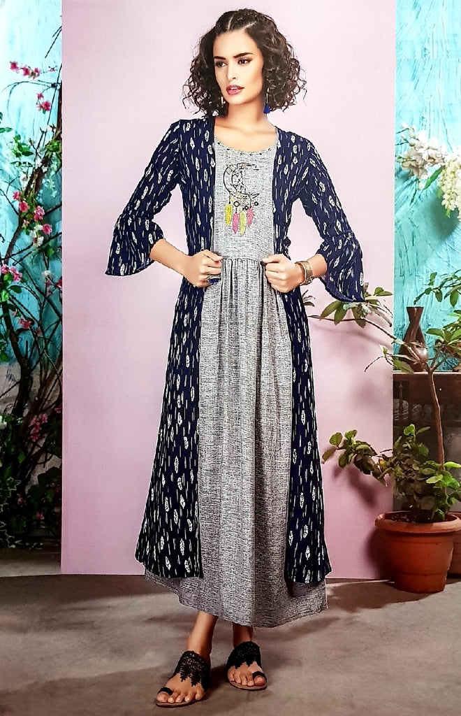 Embroidered Shirt With Long Cape - R00257