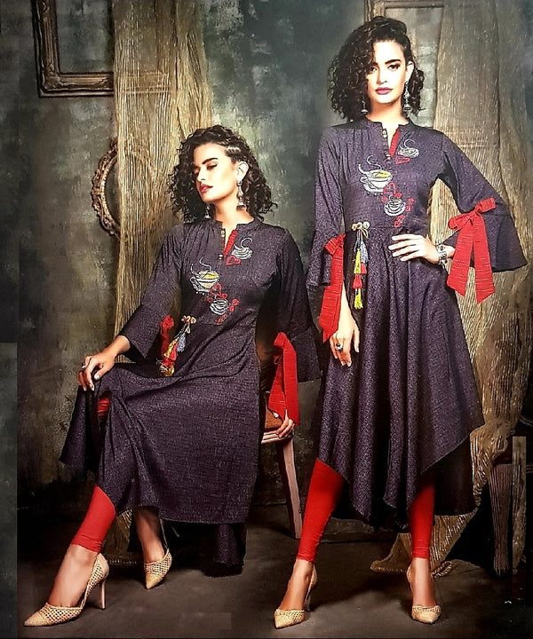 Embroidered Trendy and Stylish Cotton Kurti - R00289