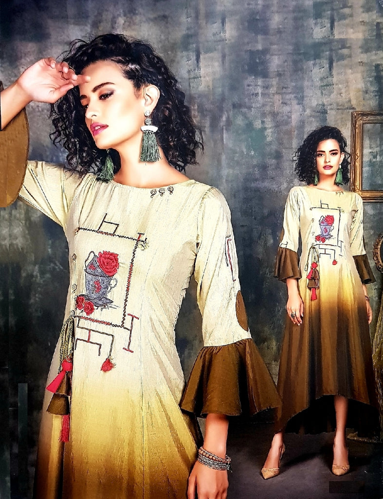 Embroidered High - Low Shaded Semi - Formal Kurti - R00291