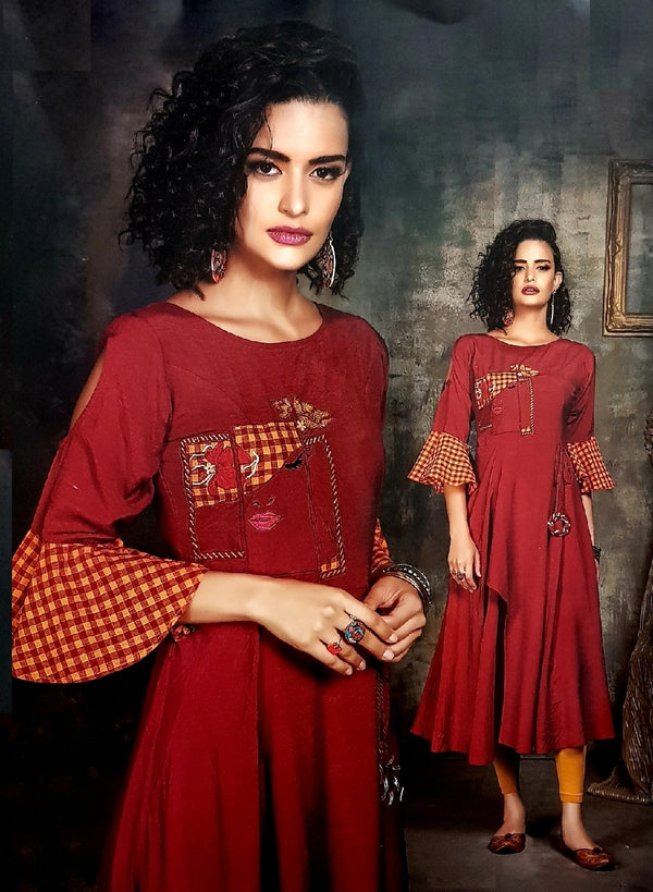 Embroidered Stylish Semi - Formal Kurti - R00292