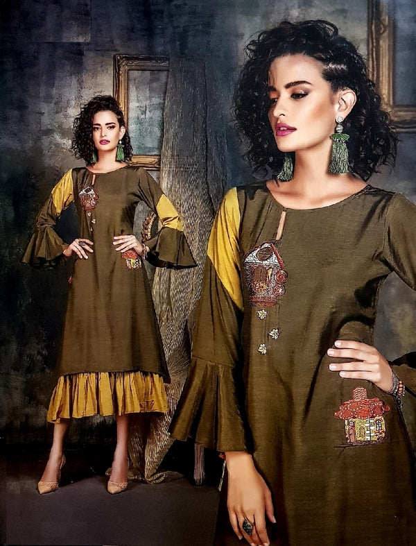 Embroidered Gathered Trendy Designer Kurti - R00293
