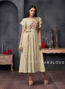Embroidered Dress Style Kurti - R00304