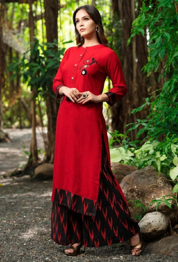 Embroidered Reyon Cotton Kurti With Pallazo - R00318
